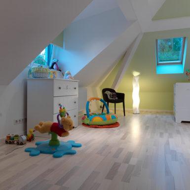 Pour agrandir la surface habitable de cette maison à Mulhouse Dornach, les combles ont été entièrement aménagés.